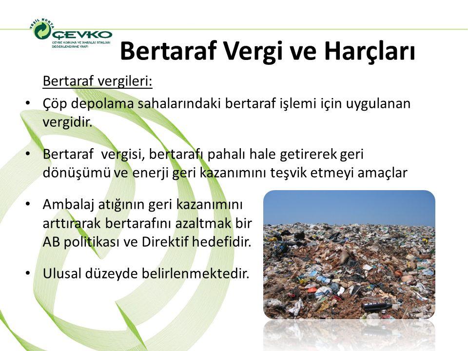 Bertaraf Vergi ve Harçları Bertaraf vergileri: Çöp depolama sahalarındaki bertaraf işlemi için uygulanan vergidir. Bertaraf vergisi, bertarafı pahalı
