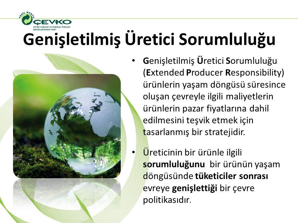 Genişletilmiş Üretici Sorumluluğu Genişletilmiş Üretici Sorumluluğu (Extended Producer Responsibility) ürünlerin yaşam döngüsü süresince oluşan çevrey