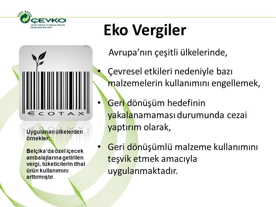 Eko Vergiler Avrupa'nın çeşitli ülkelerinde, Çevresel etkileri nedeniyle bazı malzemelerin kullanımını engellemek, Geri dönüşüm hedefinin yakalanamama