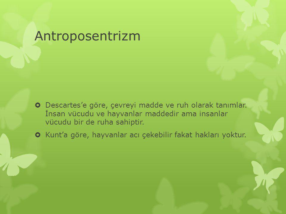 Antroposentrizm  Descartes'e göre, çevreyi madde ve ruh olarak tanımlar. İnsan vücudu ve hayvanlar maddedir ama insanlar vücudu bir de ruha sahiptir.