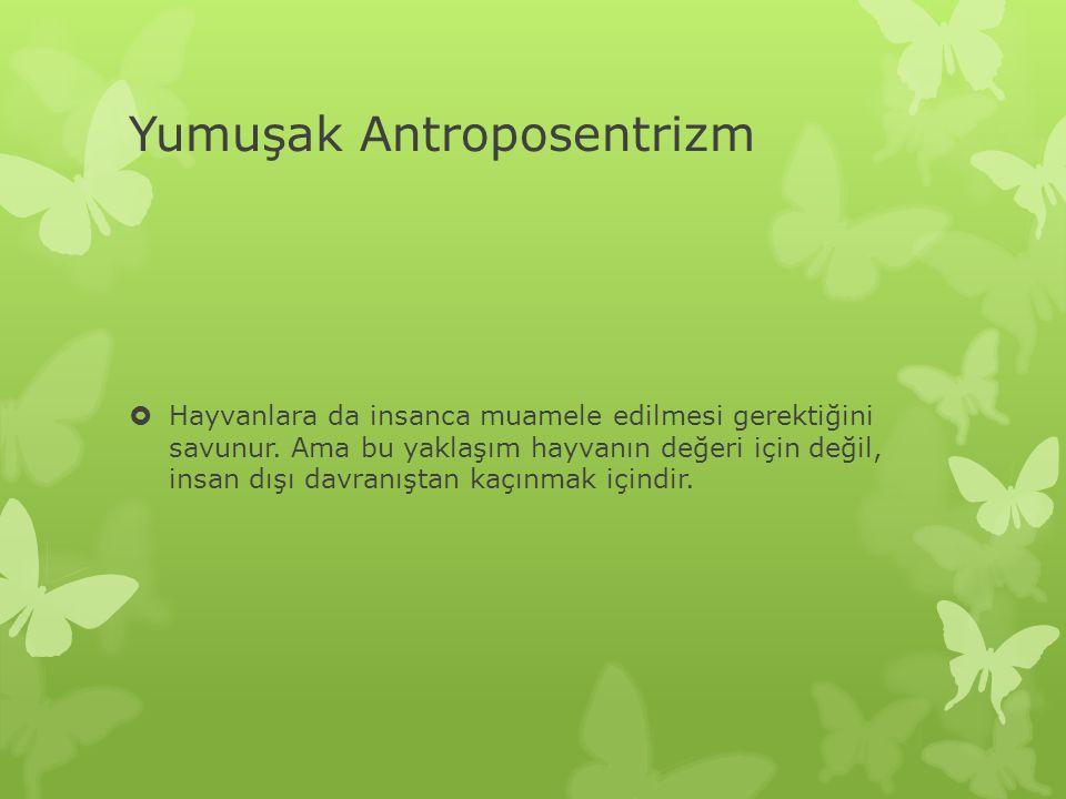 Yumuşak Antroposentrizm  Hayvanlara da insanca muamele edilmesi gerektiğini savunur.