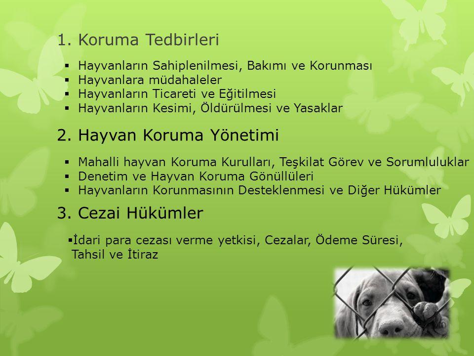 1. Koruma Tedbirleri  Hayvanların Sahiplenilmesi, Bakımı ve Korunması  Hayvanlara müdahaleler  Hayvanların Ticareti ve Eğitilmesi  Hayvanların Kes