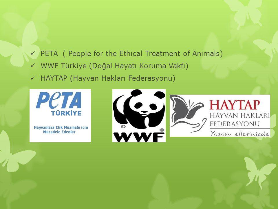 PETA ( People for the Ethical Treatment of Animals) WWF Türkiye (Doğal Hayatı Koruma Vakfı) HAYTAP (Hayvan Hakları Federasyonu)