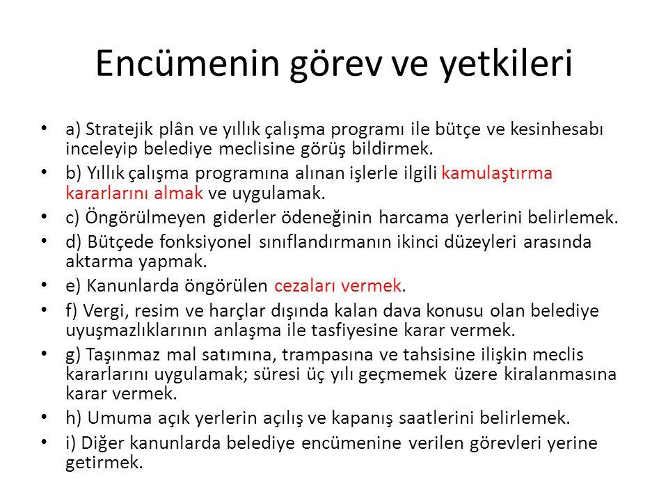 Encümenin görev ve yetkileri a) Stratejik plân ve yıllık çalışma programı ile bütçe ve kesinhesabı inceleyip belediye meclisine görüş bildirmek. b) Yı