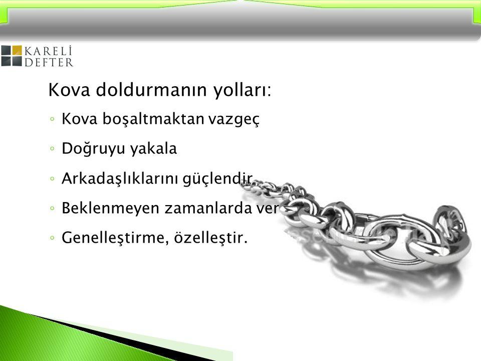 Kova doldurmanın yolları: ◦ Kova boşaltmaktan vazgeç ◦ Doğruyu yakala ◦ Arkadaşlıklarını güçlendir ◦ Beklenmeyen zamanlarda ver ◦ Genelleştirme, özell