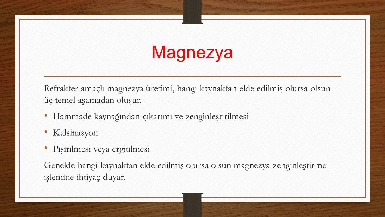 Magnezya Refrakter amaçlı magnezya üretimi, hangi kaynaktan elde edilmiş olursa olsun üç temel aşamadan oluşur. Hammade kaynağından çıkarımı ve zengin