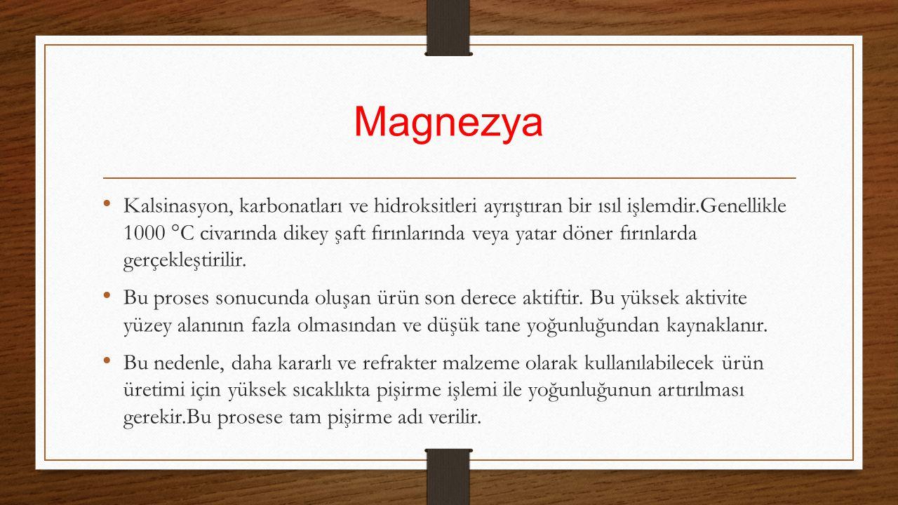 Magnezya Kalsinasyon, karbonatları ve hidroksitleri ayrıştıran bir ısıl işlemdir.Genellikle 1000 °C civarında dikey şaft fırınlarında veya yatar döner