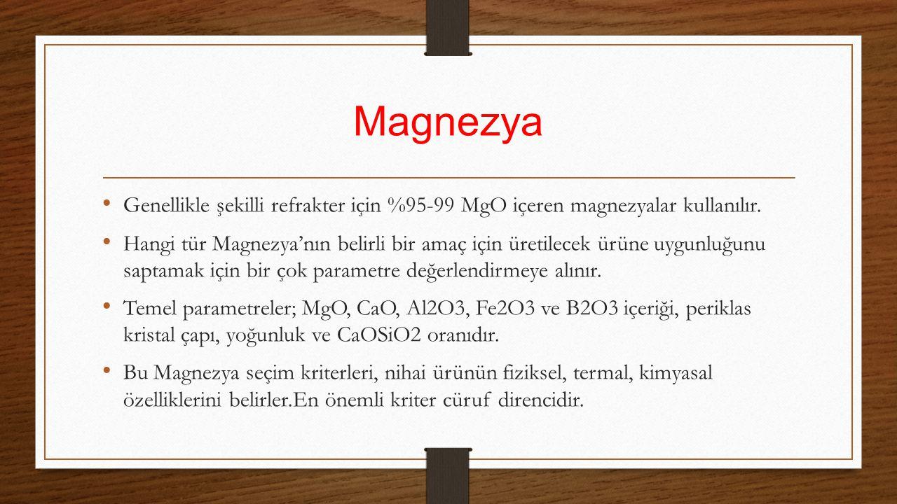 Magnezya Genellikle şekilli refrakter için %95-99 MgO içeren magnezyalar kullanılır. Hangi tür Magnezya'nın belirli bir amaç için üretilecek ürüne uyg
