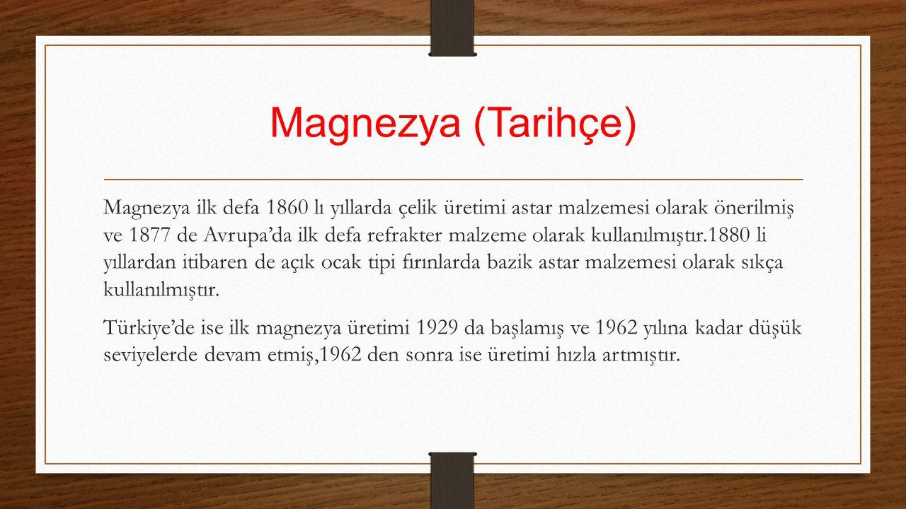 Magnezya (Tarihçe) Magnezya ilk defa 1860 lı yıllarda çelik üretimi astar malzemesi olarak önerilmiş ve 1877 de Avrupa'da ilk defa refrakter malzeme o