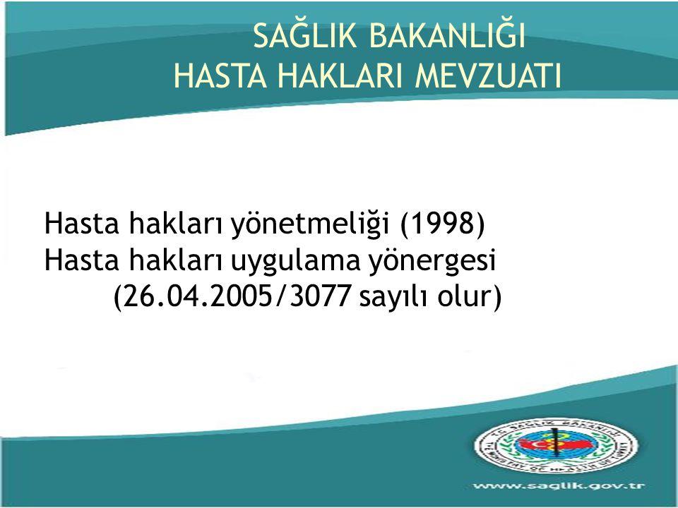 Hasta hakları yönetmeliği (1998) Hasta hakları uygulama yönergesi (26.04.2005/3077 sayılı olur) SAĞLIK BAKANLIĞI HASTA HAKLARI MEVZUATI