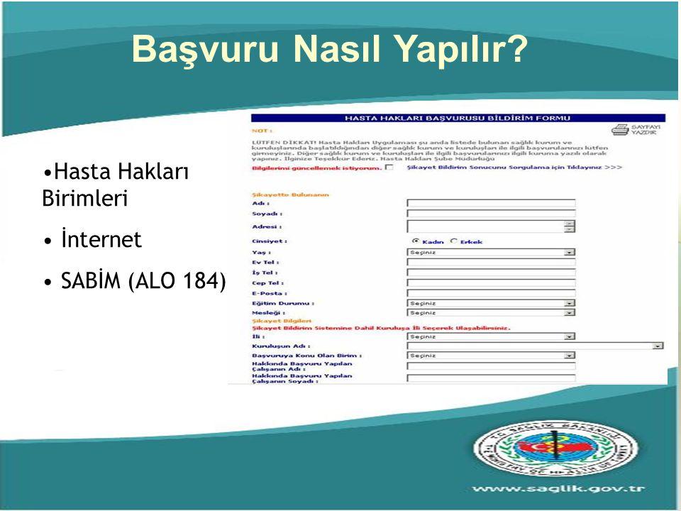 Başvuru Nasıl Yapılır? Hasta Hakları Birimleri İnternet SABİM (ALO 184)