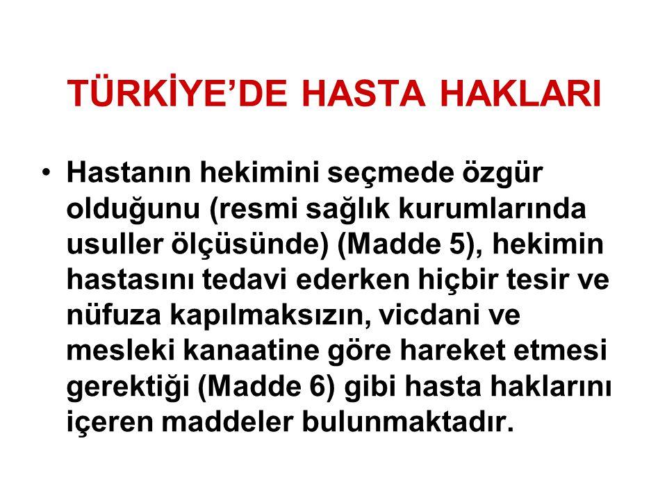 TÜRKİYE'DE HASTA HAKLARI Hastanın hekimini seçmede özgür olduğunu (resmi sağlık kurumlarında usuller ölçüsünde) (Madde 5), hekimin hastasını tedavi ed