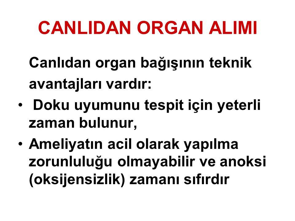 CANLIDAN ORGAN ALIMI Canlıdan organ bağışının teknik avantajları vardır: Doku uyumunu tespit için yeterli zaman bulunur, Ameliyatın acil olarak yapılm