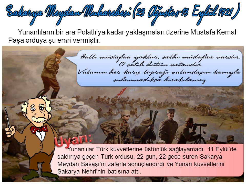 Kütahya Eskişehir Savaşları'ndan sonra Sakarya Nehri'nin doğusuna çekilen Türk kuvvetleri ihtiyaçlarını gidermeye çalışıyordu. Bu sırada Yunanlılar, T