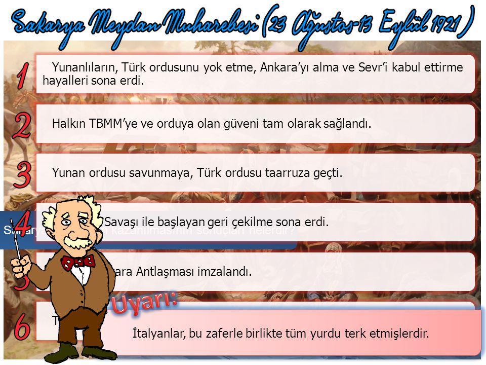 Yunanlıların bir ara Polatlı'ya kadar yaklaşmaları üzerine Mustafa Kemal Paşa orduya şu emri vermiştir. Yunanlılar Türk kuvvetlerine üstünlük sağlayam