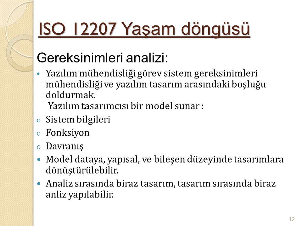ISO 12207 Yaşam döngüsü Gereksinimleri analizi: Yazılım mühendisliği görev sistem gereksinimleri mühendisliği ve yazılım tasarım arasındaki boşluğu do
