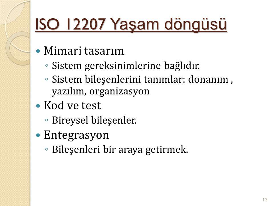 ISO 12207 Yaşam döngüsü Mimari tasarım ◦ Sistem gereksinimlerine bağlıdır. ◦ Sistem bileşenlerini tanımlar: donanım, yazılım, organizasyon Kod ve test
