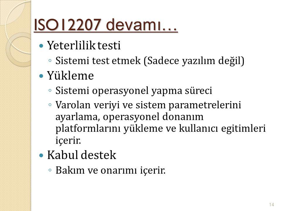 ISO12207 devamı… Yeterlilik testi ◦ Sistemi test etmek (Sadece yazılım değil) Yükleme ◦ Sistemi operasyonel yapma süreci ◦ Varolan veriyi ve sistem pa