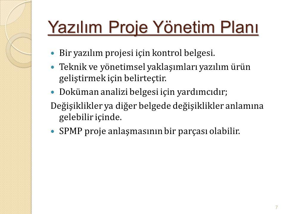 Yazılım Proje Yönetim Planı Bir yazılım projesi için kontrol belgesi. Teknik ve yönetimsel yaklaşımları yazılım ürün geliştirmek için belirteçtir. Dok