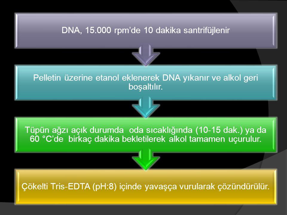 Çökelti Tris-EDTA (pH:8) içinde yavaşça vurularak çözündürülür. Tüpün ağzı açık durumda oda sıcaklığında (10-15 dak.) ya da 60 °C'de birkaç dakika bek