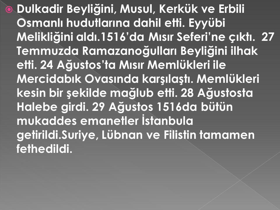  Dulkadir Beyliğini, Musul, Kerkük ve Erbili Osmanlı hudutlarına dahil etti. Eyyübi Melikliğini aldı.1516'da Mısır Seferi'ne çıktı. 27 Temmuzda Ramaz