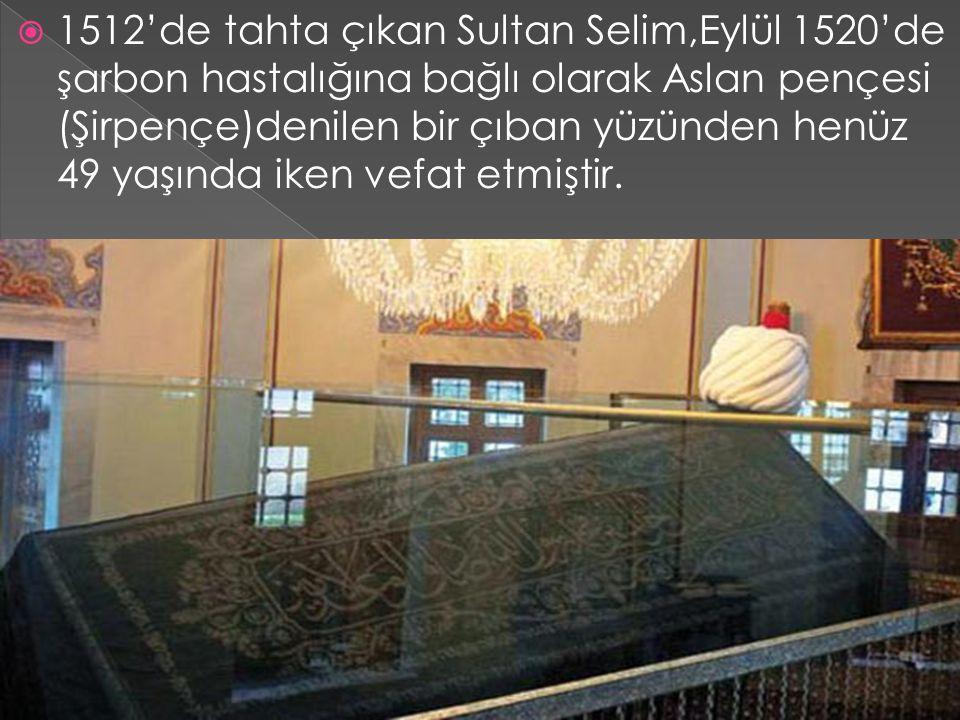  1512'de tahta çıkan Sultan Selim,Eylül 1520'de şarbon hastalığına bağlı olarak Aslan pençesi (Şirpençe)denilen bir çıban yüzünden henüz 49 yaşında i