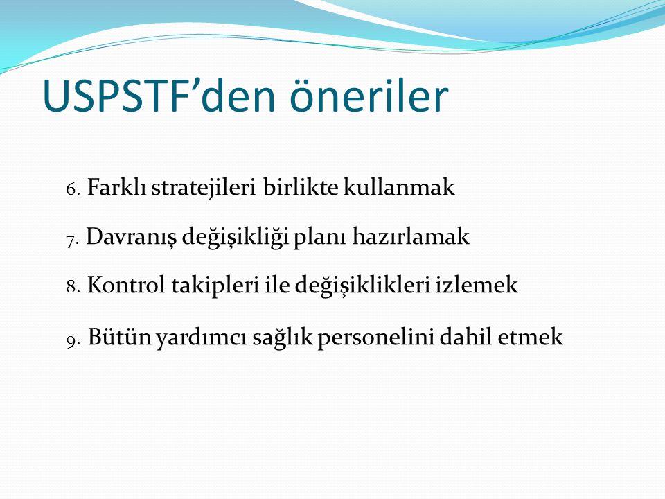 USPSTF'den öneriler 6. Farklı stratejileri birlikte kullanmak 7. Davranış değişikliği planı hazırlamak 8. Kontrol takipleri ile değişiklikleri izlemek