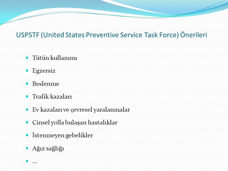 USPSTF (United States Preventive Service Task Force) Önerileri Tütün kullanımı Egzersiz Beslenme Trafik kazaları Ev kazaları ve çevresel yaralanmalar