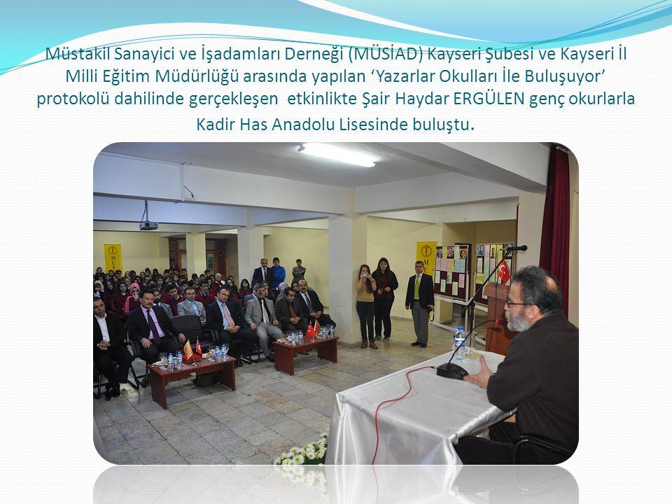 Açılış konuşmasını yapan MÜSİAD Kayseri Eğitim ve Kültür Komisyon Başkanı Mehmet KÜTAHNECİ; Gençlerin kitap ile olan bağlarını kuvvetlendirmek amacıyla yürütülen bu projeye her anlamda katkı koymaktan, emek sarf etmekten memnuniyet duyduklarını söyledi.