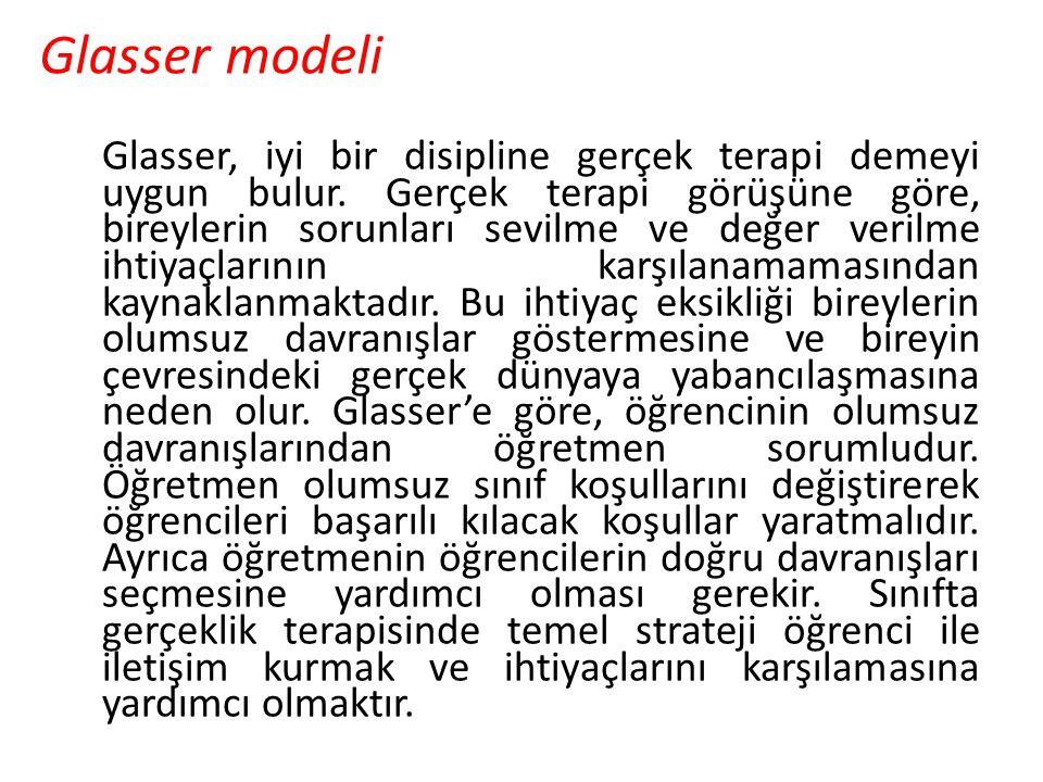 Glasser modeli Glasser, iyi bir disipline gerçek terapi demeyi uygun bulur. Gerçek terapi görüşüne göre, bireylerin sorunları sevilme ve değer verilme