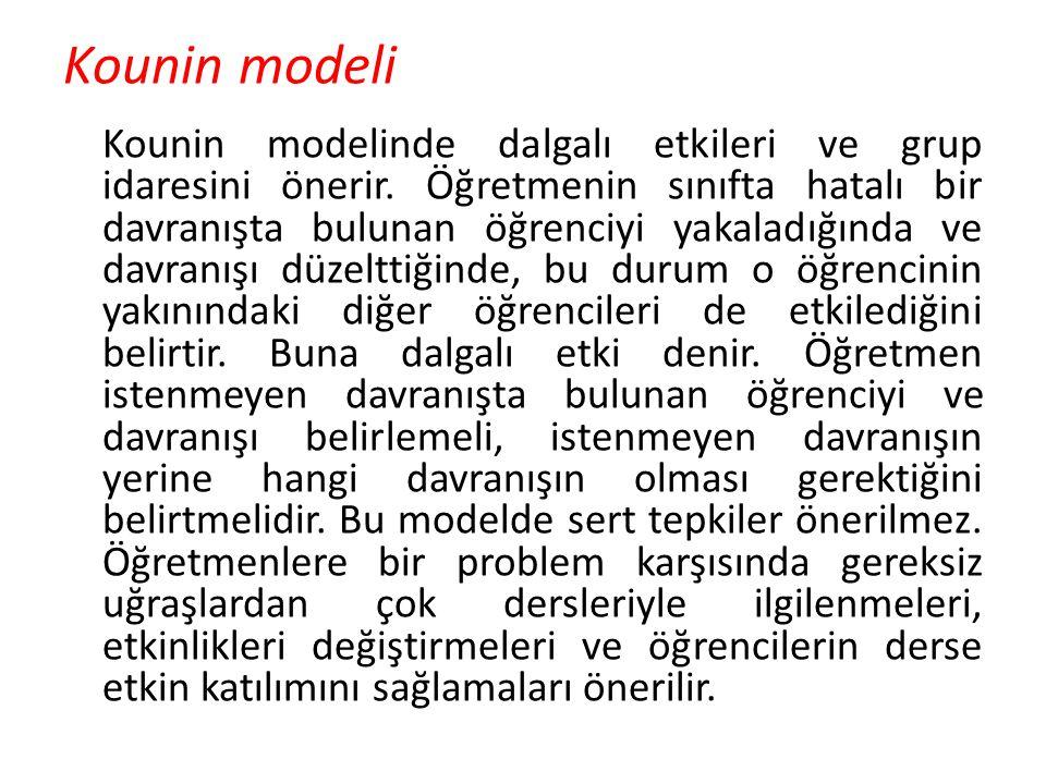 Kounin modeli Kounin modelinde dalgalı etkileri ve grup idaresini önerir. Öğretmenin sınıfta hatalı bir davranışta bulunan öğrenciyi yakaladığında ve