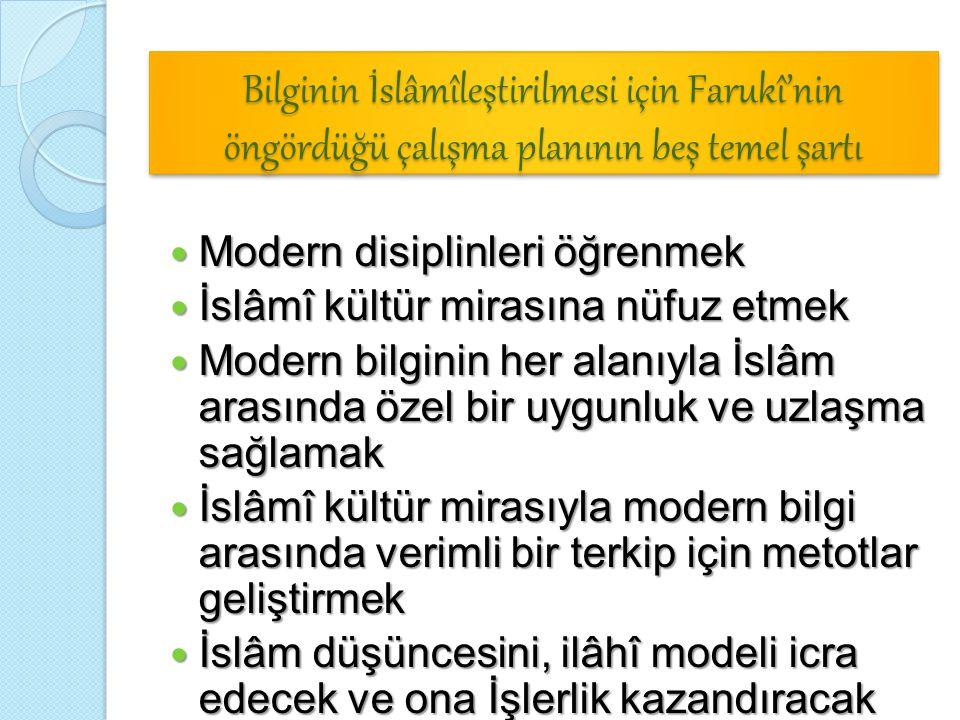 Bilginin İslâmîleştirilmesi için Farukî'nin öngördüğü çalışma planının beş temel şartı Modern disiplinleri öğrenmek Modern disiplinleri öğrenmek İslâm