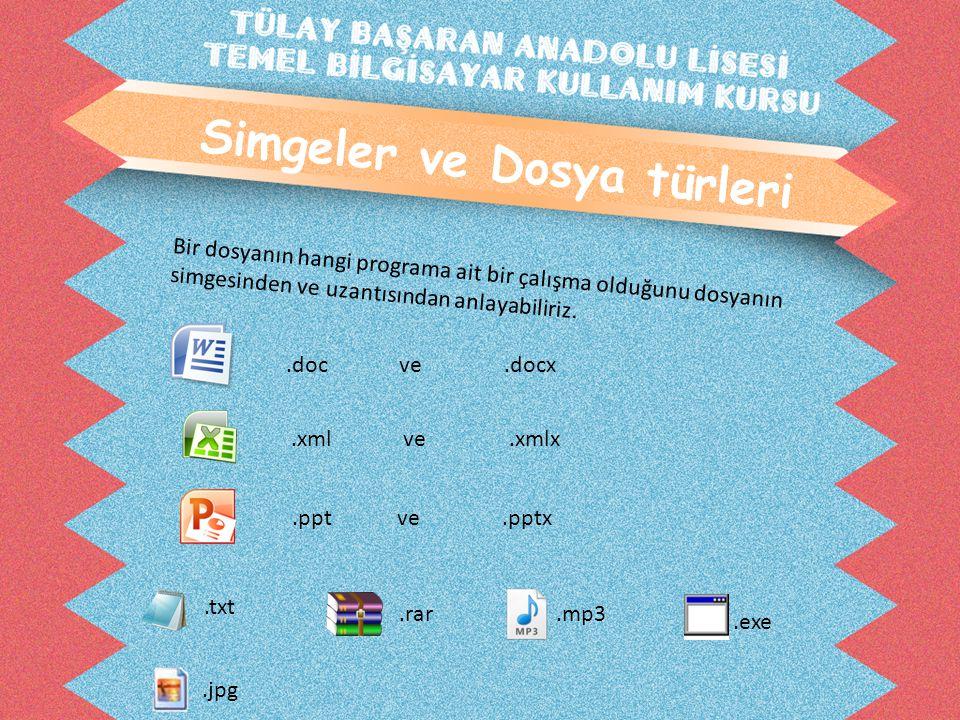 Simgeler ve Dosya türleri Bir dosyanın hangi programa ait bir çalışma olduğunu dosyanın simgesinden ve uzantısından anlayabiliriz..doc ve.docx.xml ve.