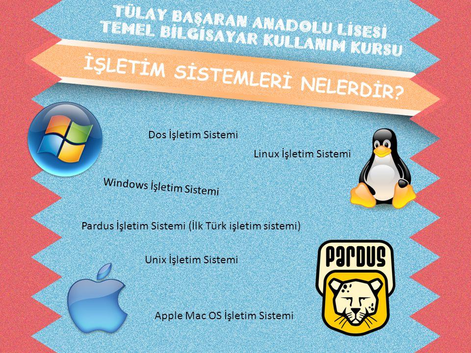 İŞLETİM SİSTEMLERİ NELERDİR? Windows İşletim Sistemi Dos İşletim Sistemi Unix İşletim Sistemi Linux İşletim Sistemi Pardus İşletim Sistemi (İlk Türk i