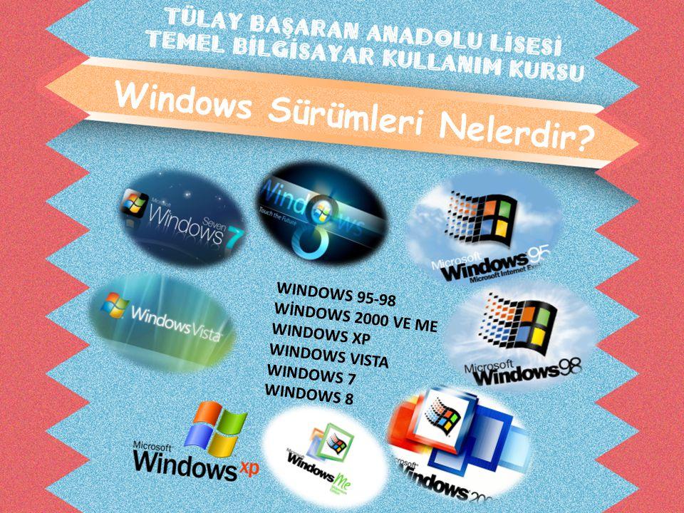 Windows Sürümleri Nelerdir? WINDOWS 95-98 WİNDOWS 2000 VE ME WINDOWS XP WINDOWS VISTA WINDOWS 7 WINDOWS 8