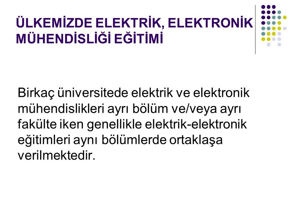 Birkaç üniversitede elektrik ve elektronik mühendislikleri ayrı bölüm ve/veya ayrı fakülte iken genellikle elektrik-elektronik eğitimleri aynı bölümle