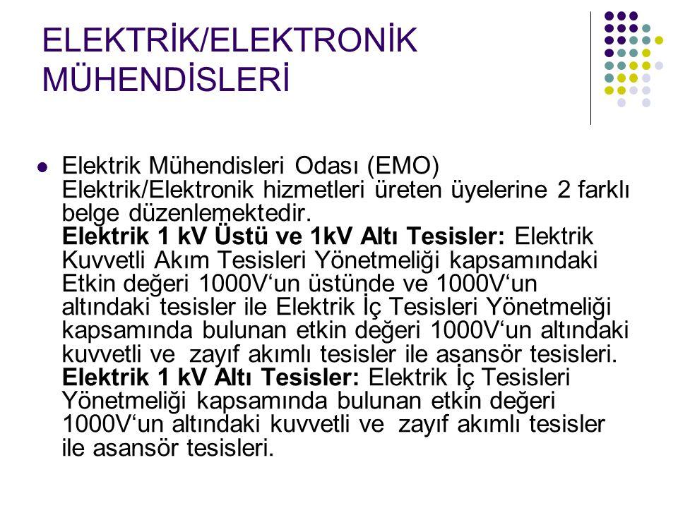 ELEKTRİK/ELEKTRONİK MÜHENDİSLERİ Elektrik Mühendisleri Odası (EMO) Elektrik/Elektronik hizmetleri üreten üyelerine 2 farklı belge düzenlemektedir. Ele