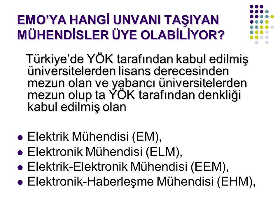 EMO'YA HANGİ UNVANI TAŞIYAN MÜHENDİSLER ÜYE OLABİLİYOR? Türkiye'de YÖK tarafından kabul edilmiş üniversitelerden lisans derecesinden mezun olan ve yab