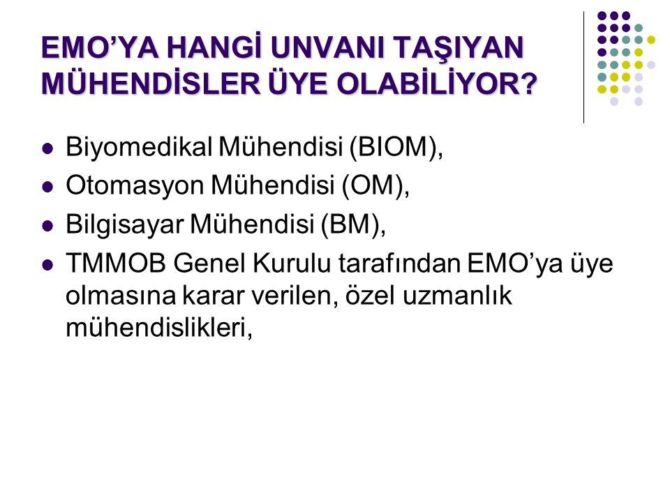 EMO'YA HANGİ UNVANI TAŞIYAN MÜHENDİSLER ÜYE OLABİLİYOR? Biyomedikal Mühendisi (BIOM), Otomasyon Mühendisi (OM), Bilgisayar Mühendisi (BM), TMMOB Genel