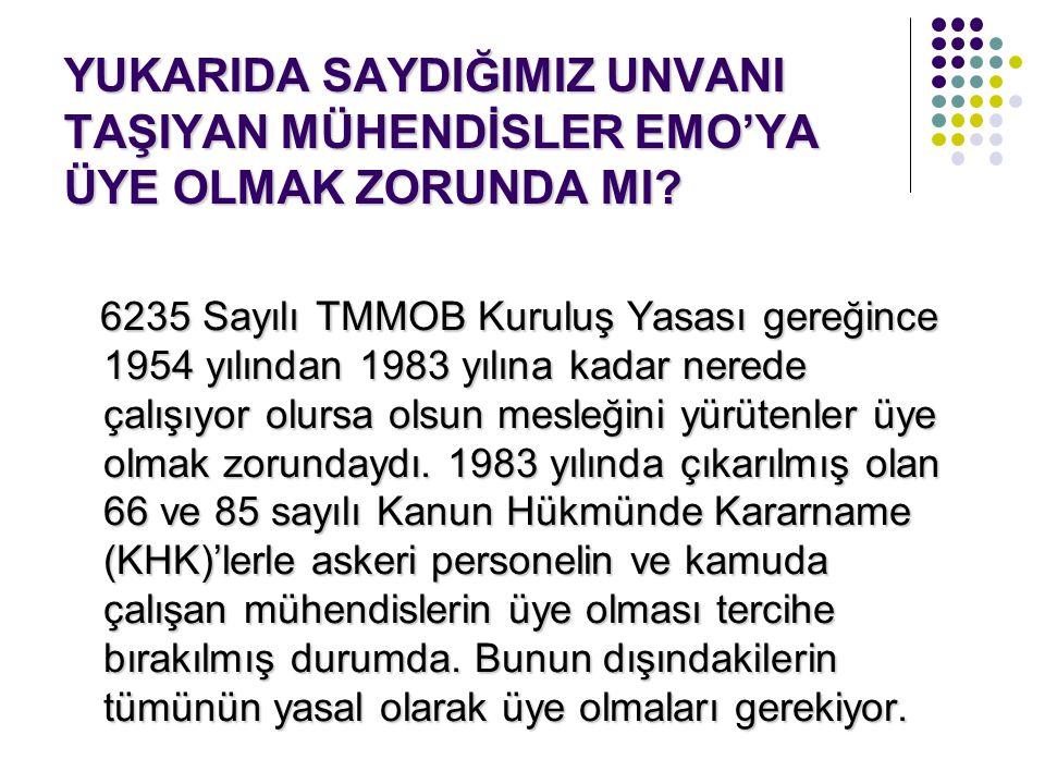 YUKARIDA SAYDIĞIMIZ UNVANI TAŞIYAN MÜHENDİSLER EMO'YA ÜYE OLMAK ZORUNDA MI? 6235 Sayılı TMMOB Kuruluş Yasası gereğince 1954 yılından 1983 yılına kadar