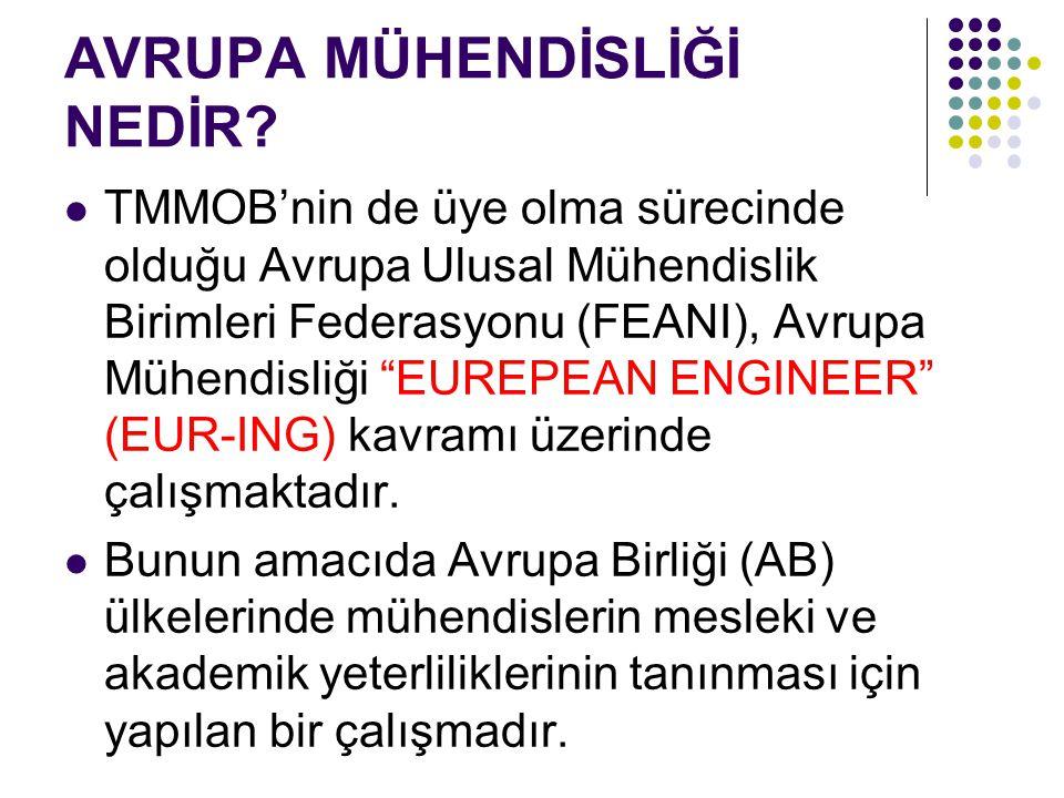 """AVRUPA MÜHENDİSLİĞİ NEDİR? TMMOB'nin de üye olma sürecinde olduğu Avrupa Ulusal Mühendislik Birimleri Federasyonu (FEANI), Avrupa Mühendisliği """"EUREPE"""