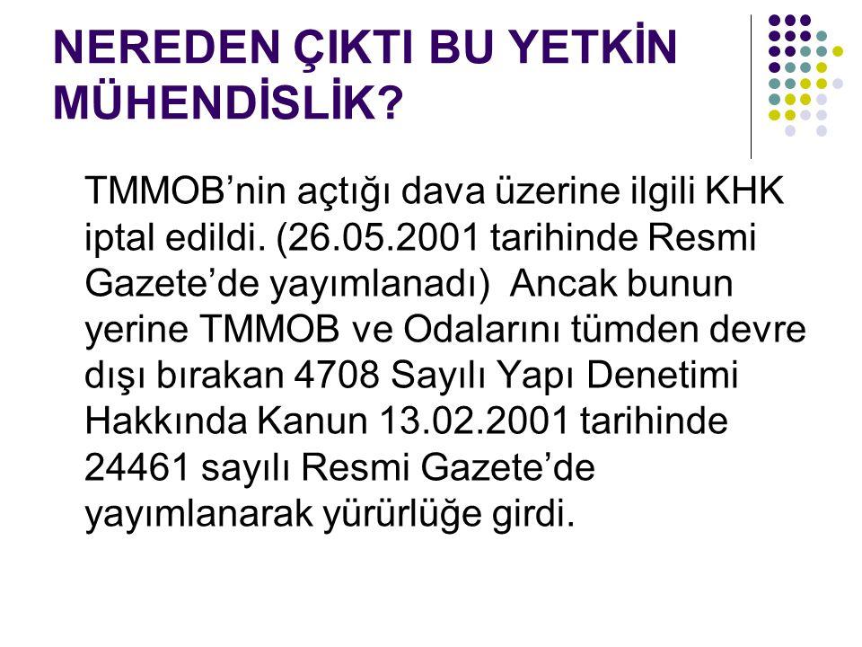 NEREDEN ÇIKTI BU YETKİN MÜHENDİSLİK? TMMOB'nin açtığı dava üzerine ilgili KHK iptal edildi. (26.05.2001 tarihinde Resmi Gazete'de yayımlanadı) Ancak b