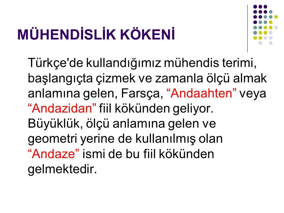 """MÜHENDİSLİK KÖKENİ Türkçe'de kullandığımız mühendis terimi, başlangıçta çizmek ve zamanla ölçü almak anlamına gelen, Farsça, """"Andaahten"""" veya """"Andazid"""