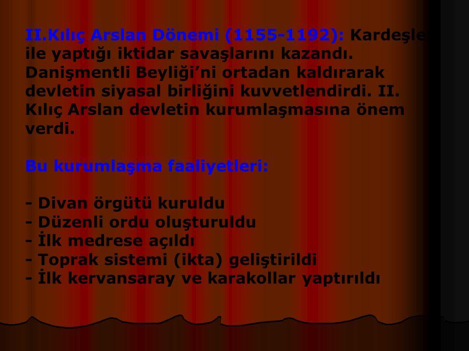 Anadolu Selçuklu Devleti(1075-1308) Anadolu Selçuklu Devleti'nin kurucusu ve ilk sultanı Kutalmışoğlu Süleymanşah'tır.İznik'i alarak devletini kurmuştur.Bizans'la mücadele etmiş,Antakya'yı ele geçirmiştir.