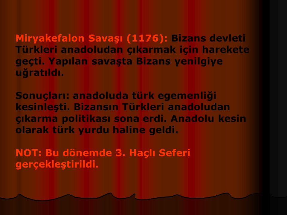 II.Kılıç Arslan Dönemi (1155-1192): Kardeşleri ile yaptığı iktidar savaşlarını kazandı.