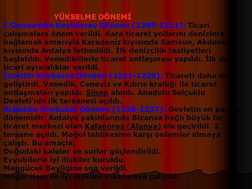 Miryakefalon Savaşı (1176): Bizans devleti Türkleri anadoludan çıkarmak için harekete geçti. Yapılan savaşta Bizans yenilgiye uğratıldı. Sonuçları: an