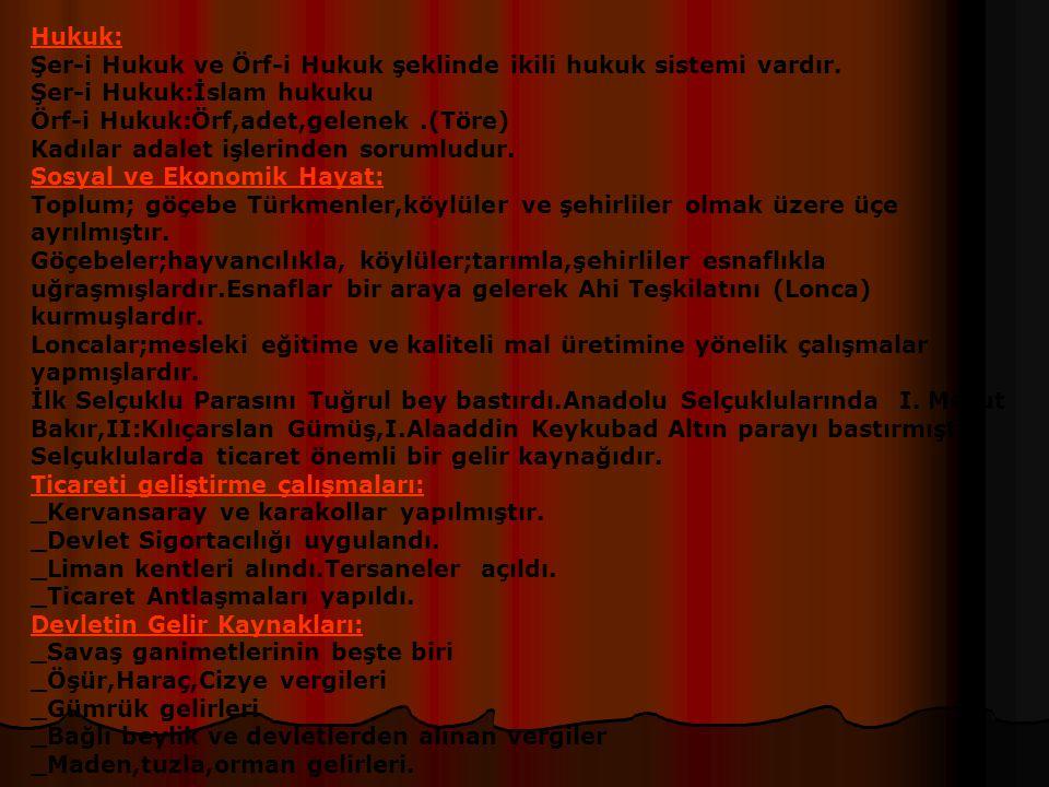 1-İkta Topraklar: a)Has:Geliri hükümdar ve ailesine ayrılan toprak.