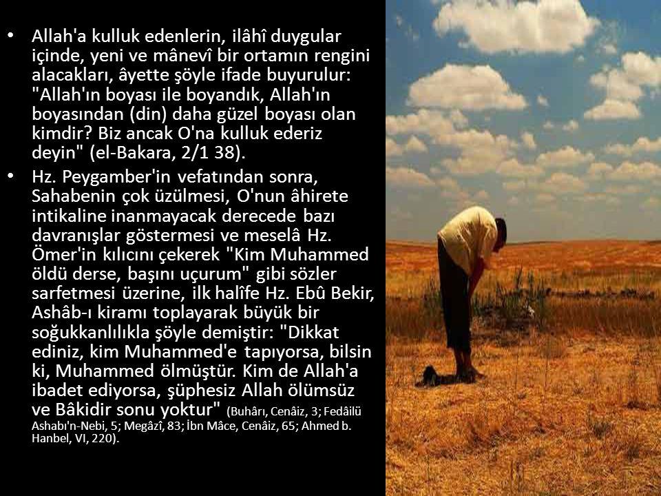 Allah a kulluk edenlerin, ilâhî duygular içinde, yeni ve mânevî bir ortamın rengini alacakları, âyette şöyle ifade buyurulur: Allah ın boyası ile boyandık, Allah ın boyasından (din) daha güzel boyası olan kimdir.