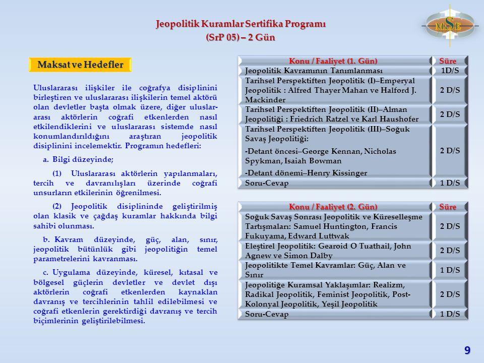 Jeopolitik Kuramlar Sertifika Programı (SrP 05) – 2 Gün Uluslararası ilişkiler ile coğrafya disiplinini birleştiren ve uluslararası ilişkilerin temel