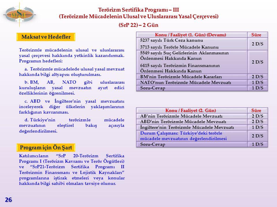 Terörizm Sertifika Programı – III (Terörizmle Mücadelenin Ulusal ve Uluslararası Yasal Çerçevesi) (SrP 22) – 2 Gün Terörizmle mücadelenin ulusal ve ul
